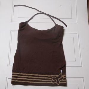Fox Sleeveless tie neck Brown